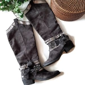 Cute EMBELLISHED gray Tall Boots by Not Rated